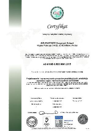 Certyfikat AS 9100D & ISO 9001:2015
